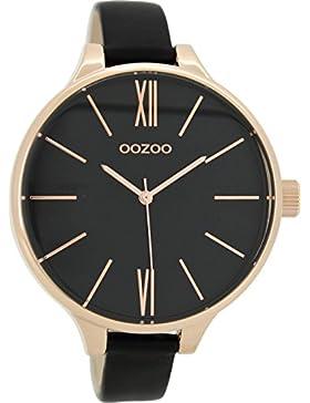 Oozoo Damenuhr mit Lederband 45 MM Rose/Schwarz/Schwarz C8639