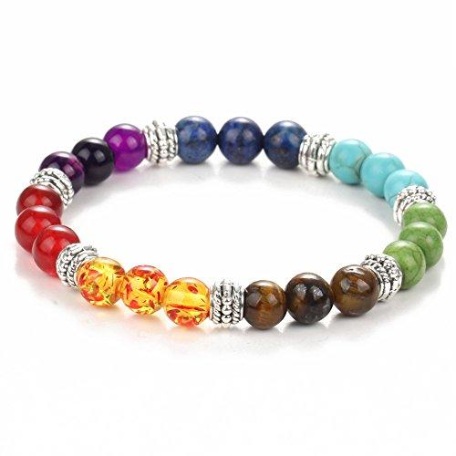 Armband, tibetisch, dehnbar/elastisch,7 Chakren, Steine, Quarz, Energieperlen, 19°cm, 8°mm (Steine Chakra Energie,)
