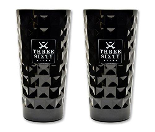 2 Stück Three Sixty Vodka BLACK Longdrink Gläser 0,3l
