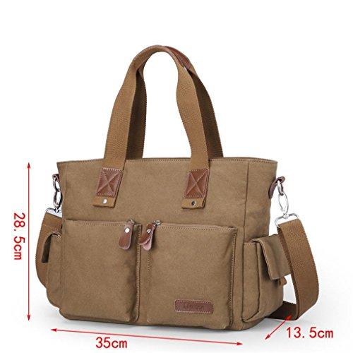 Global-M Tasche Handtasche Business-Computer Tasche Männer beiläufige Segeltuchschultertasche Messenger Bag Armee Kaffee Farbe