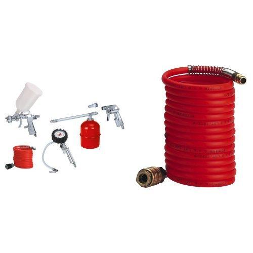 Einhell set 5 accessori per compressore + einhelll tubo a spirale 8 m, diametro interno 6 mm