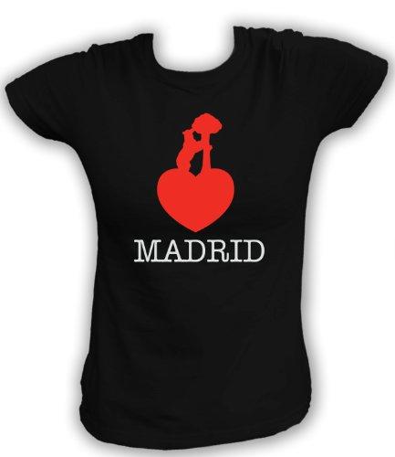 Artdiktat T-Shirt Madrid Liebe Bär Damen, Größe XL, schwarz