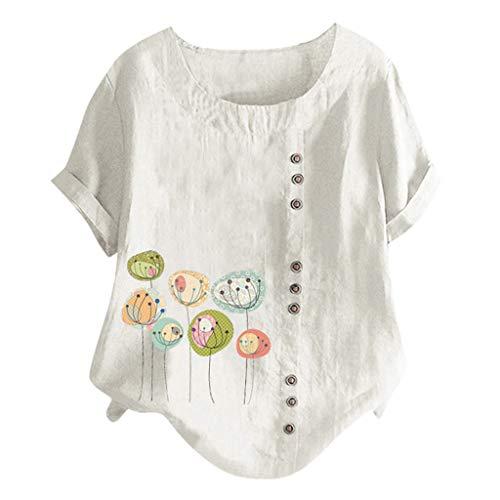 kolila Plus Size Damen Cute Kreative Drucken Kurzarm Tops T Shirts Tops Lässig Rundhals Oberteile Tops mit Knopf