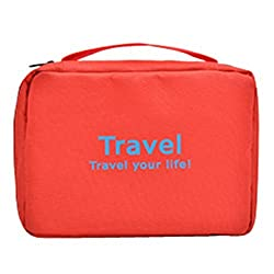Red : Men Shaving Kit Toiletries Bathroom Travel Bag Organizer with Hanging Red