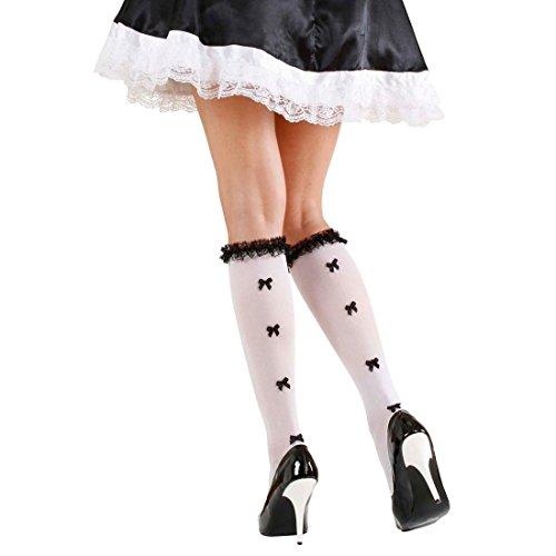 NET TOYS Maid Strümpfe Dienstmädchen Kniestrümpfe mit Schleifen und Rüschen Zimmermädchen Nylonstrümpfe Hausmädchen Nylons Schleifchen Feinstrümpfe Cosplay Kostüm Accessoires