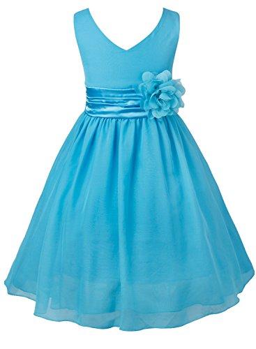 hen Kleid Festlich Blumen-mädchen Chiffon Kleid Prinzessin Party Kleid Hochzeit Festzug 92-164 Blau 152 (Blumen-mädchen-hochzeits-kleider)