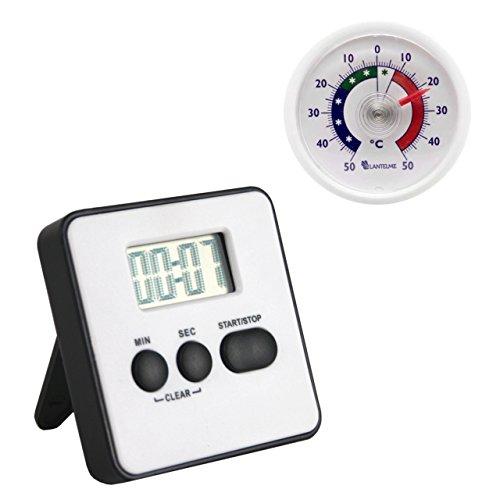 Set Digital Küchentimer und Uni Analog Thermometer Analog Farbe weiß