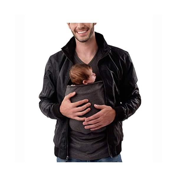 Pavilion Kangaroo Dad Men's T-shirt Short-Sleeved Stretchy Infant Sling Baby Carrier Shirt 2 in 1 Big Pocket (Size : L) Pavilion ✔Mom can easily comfort your newborn as the secure yet expandable pouch creating an intimate swaddle right. ✔Made of soft polyester, comfortable for wearing but sturdy enough to carry a new born baby. Soft and sturdy. ✔ the baby carrier shirt can become part of your everyday wardrobe by assisting you with the easy-to-use nursing bra. 4