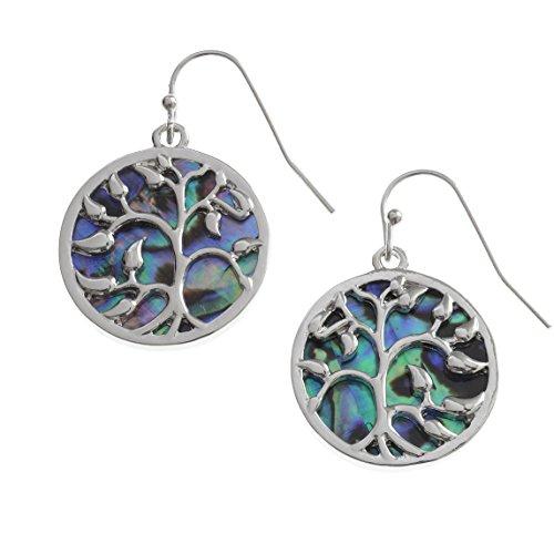 cher Baum des Lebens Ohrringe eingelegten beide Seiten mit bläulichen grün Paua Abalone Shell. Nicht-trüben Silber Farbe Hypoallergen rhodiniert. (Nachkommen Kostüme Amazon)