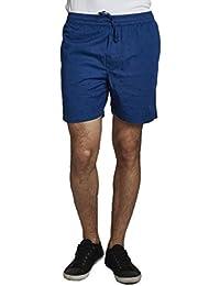 BEEVEE MENS 100% COTTON PRINTED ROYAL BLUE ELASTICATED SHORTS WITH DRAWSTRING
