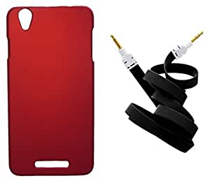 Toppings Hard Case Cover With Aux Cable For Lava Iris X1 Beats - Red