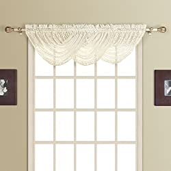 American Curtain and Home Marymount Waterfall Window Treatment Valance, 44-Inch by 38-Inch, Natural