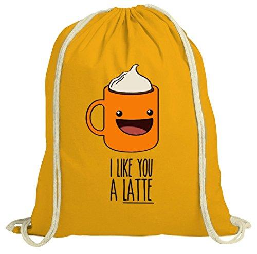 Geschenkidee natur Turnbeutel mit I Like You A Latte Motiv von ShirtStreet gelb natur