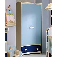 Armario infantil 2 puertas abatibles + 1 cajón inferior. Combinación de colores Color Blanco-Azul y Marino. Oferta especial..