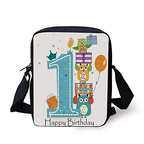 1st Birthday Decorations,First Cake Candle Owls Family with Box Party Theme,Sky Blue Orange and Green Print Kids Crossbody Messenger Bag Purse Plain Cake Box