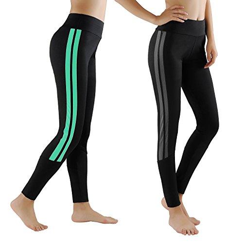 GoVIA Leggings Damen Laufhose Luftdurchlässige Trainingshose Sporthose Yogahose Fitness Yoga High Waist Lang Streifen 4138 Türkis+Grau L/XL
