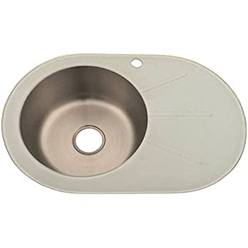 Grand Taps White Glass Kitchen Sink Inset Stainless Steel Bowl With ...