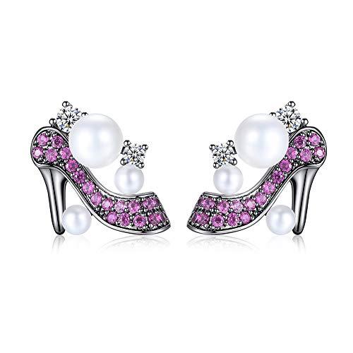 Gold Plated 2019 New Ohrstecker für Frauen - Glamorous Purple High Heels Design, intime geschmackvolle Geschenke für Sie & Freundin & Frau, kostenlose Geschenkverpackung und Versand