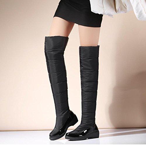 COOLCEPT Damen Quilted Boots Thigh High Warm Schnee Stiefel Schwarz