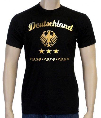 EM 2016 Fußball Deutschland Adler Gold 3 Sterne T-Shirt schwarz-gold, Gr.5XL