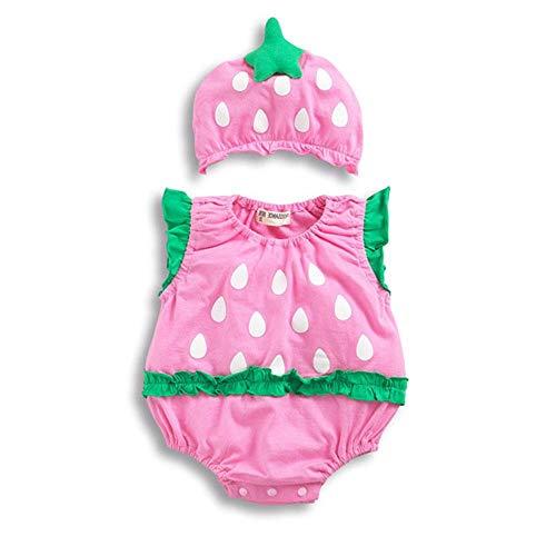 Erdbeer Set Baby Kostüm - BYFRI Baby-Kind-Kind-Overall Fancy Tier Insekt Kostüm Sommer-Karikatur Onesies Ärmel Bodysuit und Hut Set Strampler Outfits für Jungs Grils (66cm & Erdbeere)