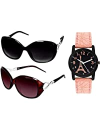 Y&S Sunglasses Watch Combo in Black Brown Butterfly Ladies Design With Parys Effel Towar Watch