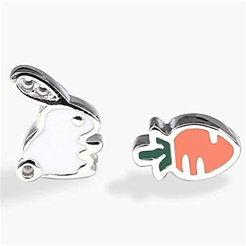 Reine Karotte (Reines Silber asymmetrische Hase ziehen Karotte Ohr Nägel weibliche Ohr Stück einfache süße süße kleine Student Ohrringe)