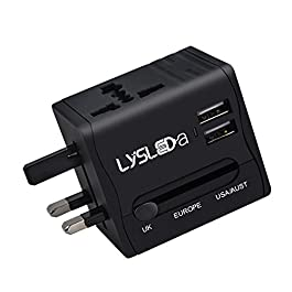 LYSLEDA 2 USB Ports (5V 2.1A) All In One USB Travel Adaptor, Universal USB Plug Applicable in Over 150 Countries for User of Apple, iPod, iPad, Smartphone and Digital Cameras, etc.
