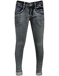 Blue Rebel - Fille Jeans super skinny lavé regard, bleu