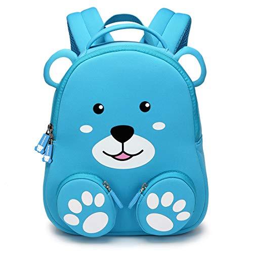 Nikizoo Rucksack für Kleinkinder, mit Sicherheitsgurt und Leine, 3D-Zoo, niedlicher Rucksack, 25,4 cm, für Kinder im Vorschulalter Blauer Bär Children