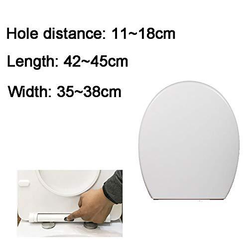 Preisvergleich Produktbild Wc-Sitze U / V / O-Typ Dick Toilettendeckel Mit Antibakteriellem Harnstoff-Formaldehydharz Mute Ultra Resistant Toilettendeckel Einfach Zu Installierendes Wc-ZubehöR White-42~45 * 35~38cm