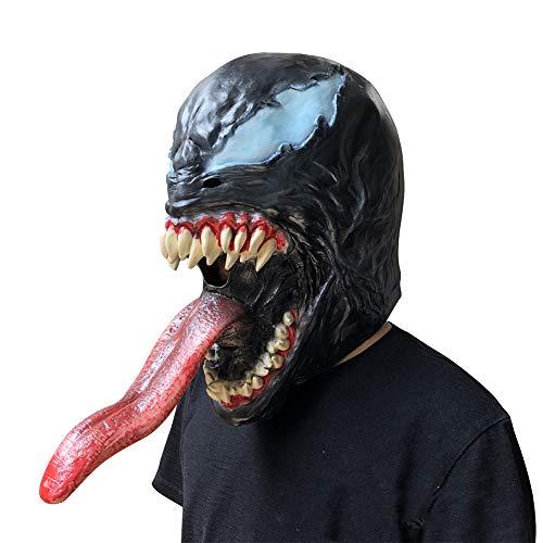 SC Halloween Horror Black Venom Mask Film Super Spider-Man Held Kopfbedeckung Party Karneval Bar Requisiten (Iron Mann Kostüm Marvel Helden)