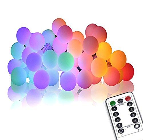 Luci Della Stringa, WONFAST 16.4ft 50 All'aperto Globe Stringa Luci LED 8 Modalità a Pile Dimmerabili Fata Luce Con Telecomando e Timer,