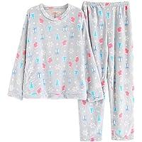 WYIKAI Pijamas Un Gran Número De Señoras Otoño Invierno Establece Jefe Pajama Establece Franela 2Pieza Gruesa Pijama Longsleeved Home,XXL