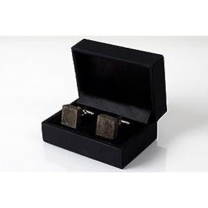 Manschettenknöpfe aus dunklem Beton   cufflinks in hochwertigem Klapp-Schmucketui – perfekt als Weihnachtsgeschenk
