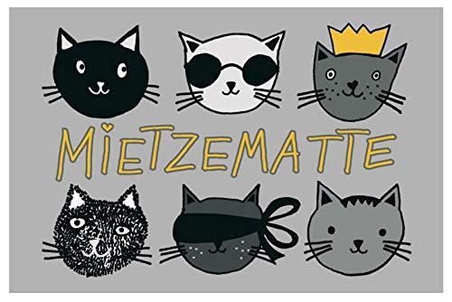 Fußmatte waschbar - Mietzematte - lustige Türmatte Katzen Fußabtreter