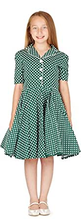 BlackButterfly Kids 'Sabrina' Vintage Polka Dot 50's Girls Dress (Green, 3-4 YRS)