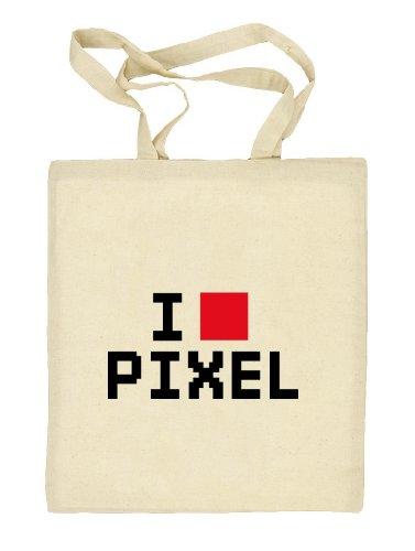 Shirtstreet24, I LOVE PIXEL 2, 8-Bit Stoffbeutel Jute Tasche (ONE SIZE) Natur