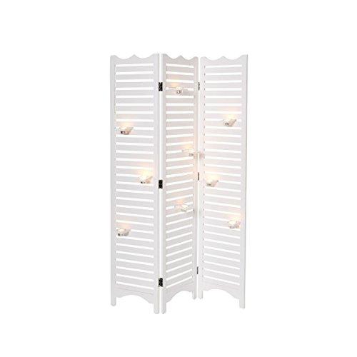 miaVILLA Paravent Candle - Raumtrenner - mit Teelichthaltern - Lamellen - Holz - ca. H 180 - Kerze-halter-wand-dekoration