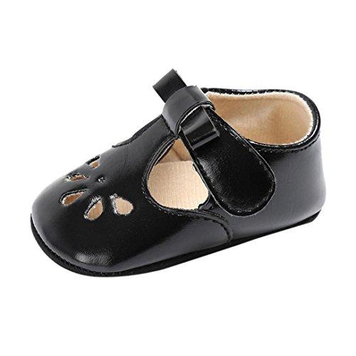 Glücklichen Schuhe Top, Kleinkind (Lederschuhe Babyschuhe Neugeborenen Leder T-Strap Schuhe Kleinkind Prinzessin Party SchuheLauflernschuhe Mädchen Krippeschuhe Krabbelschuhe Wanderschuhe LMMVP (Schwarz, 12CM(6 ~ 12 Monate)))