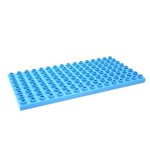 Katara 1814 - Kleine Grund Bauplatte 25,6 cm x 12,5 cm, Kompatibel Lego Duplo, Simba Blox, Hubelino, Q-Bricks, Hellblau