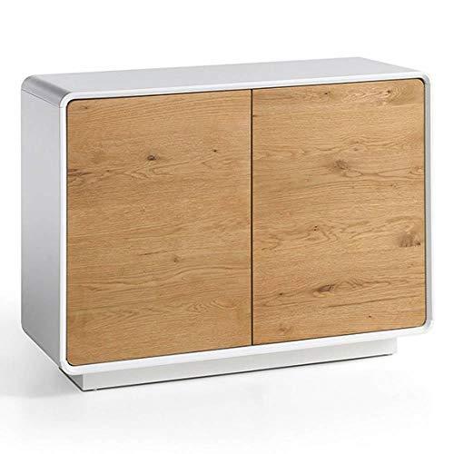 INSIDE Buffet Design scandinave Tally 2 Portes laqué Blanc Mat et chêne Massif