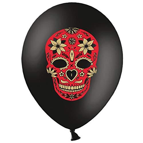 Premium Weddings Dia de los Muertos Luftballons schwarz Totenkopf rot 10 Stück