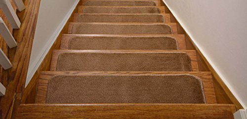 Comfy Collection Stair Tread Treads Indoor Skid Slip Resistant Carpet Stair Tread Treads Machine Washable 8 ? inch x 28 inch (Set of 7, Beige) by Rug Style