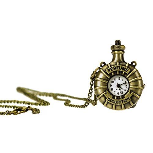 TU 43 Uhr mit Perfume Collection Anhänger und langer Kette in Altgoldoptik, Halskette Modeschmuck, von Kobert Goods
