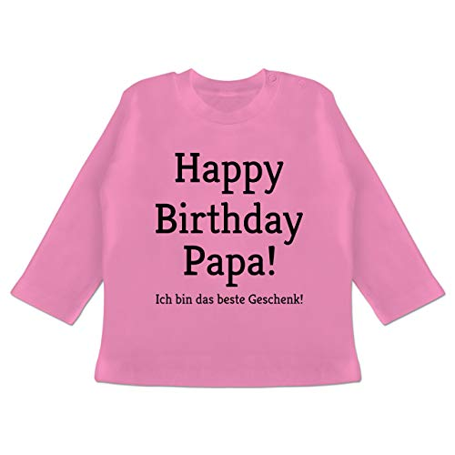 Anlässe Baby - Happy Birthday Papa 18-24 Monate - Pink - BZ11 - Baby T-Shirt Langarm