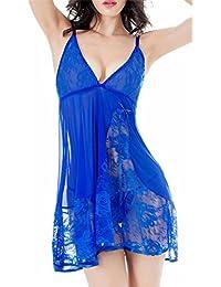 RZS Femme Lingerie en Dentelle Robe Sexy noeud de fleur Nuisettes fine à élingue Bleu Vêtement de Nuit décoré aux seins avec Babydoll