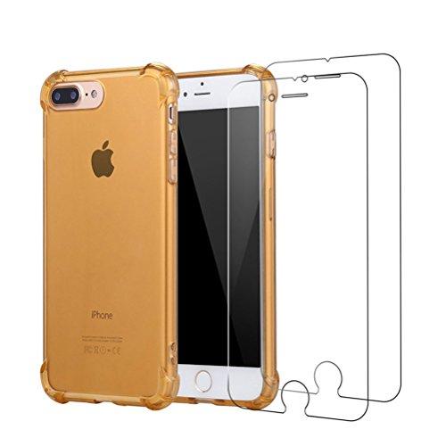 Cover iPhone 7 Plus + [2 Pezzi] iPhone 7 Plus Pellicola Vetro Temperato, Bestsky AntiUrto Shock Absorbing Pannello Posteriore Trasparente Silicone Custodia per Apple iPhone 7 Plus doro