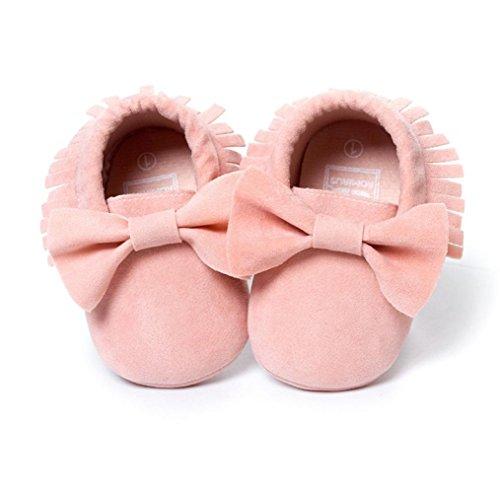 Janly Baby-Krippe-Troddeln Bowknot-Schuh-Kleinkind-Turnschuh-beiläufige Schuhe Rosa