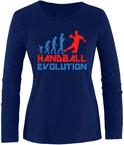 EZYshirt® Handball Evolution Damen Longsleeve Navy/Blau/Rot